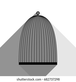 Bird cage sign. Vector. Black icon with two flat gray shadows on white background.