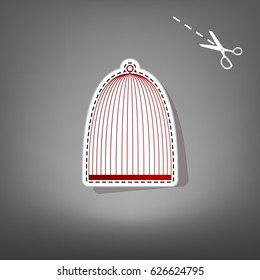 Bird cage sign. Vector. Red icon with for applique from paper with shadow on gray background with scissors.