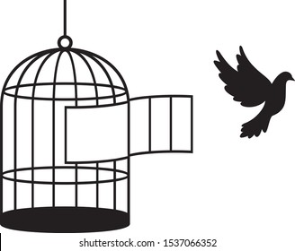 Bird cage silhouette vector illustration