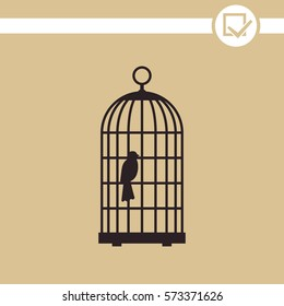 The bird in the cage vector icon.