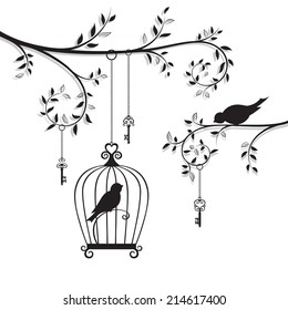 The bird in the cage. Vector illustration