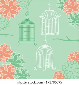 Bird Cages with Flower Ornaments