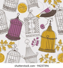 bird and cages. seamless pattern