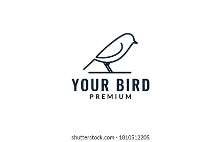 bird canary animal line minimalist logo design