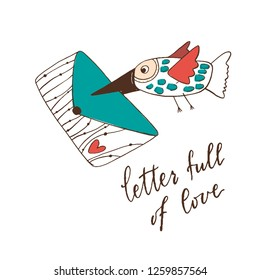 a bird carries an envelope with a heart in its beak. phrase-letter full of love