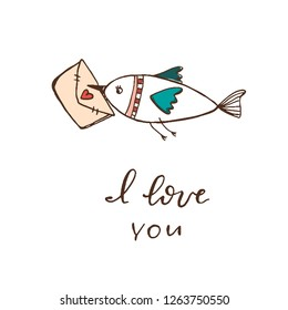 a bird carries an envelope with a heart in its beak. phrase- I love you