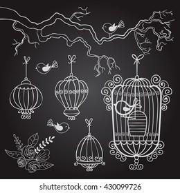 bird. cell. drawing. birdcage. sketch. vector illustration
