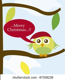 bird with christmas hat over tree over sky. vector