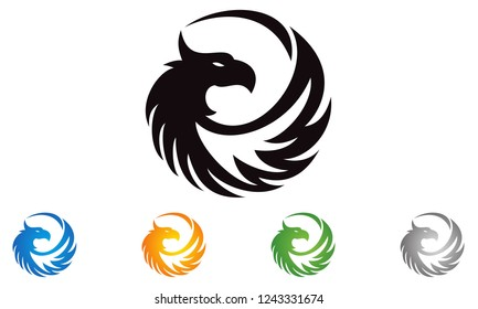 Bird in circle .Falcon Hawk bird stylish Logotype concept icon Luxury emblem concept icon.