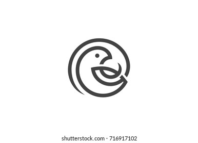 Bird in Circle Logo design vector template Linear style. Parrot Dove Sparrow Logotype concept icon.