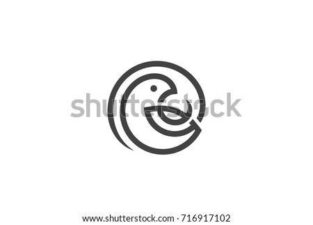 bird circle logo design vector template のベクター画像素材