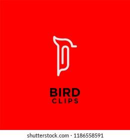 bird clips logo idea icon design vector