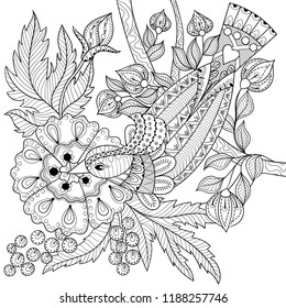 Bird coloring page for adult. Antistress therapy in graphic zentangle style. Zen art. Fantastic exotic bird with flowers. Colouring book cover.