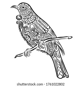 Bird colouring page hand drawn vector illustration isolated on white background Stylish jewelry. Dud and Zen, meditation, relaxation.