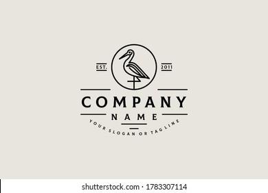 bird Crane logo design concept vintage vector template