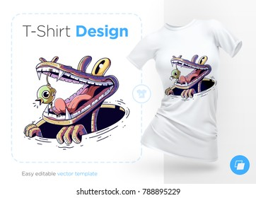 Bird in crocodile mouth. Prints on T-shirts, sweatshirts, cases for mobile phones, souvenirs. Isolated vector illustration on white background.