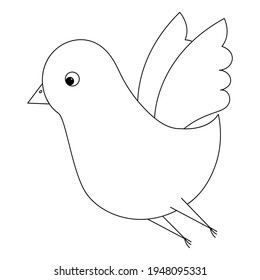 Bird. A cute chick flaps its wings. Sketch. Vector illustration. Coloring book for children. The little pigeon is flying. Outline on white isolated background. Doodle style. Festive print.