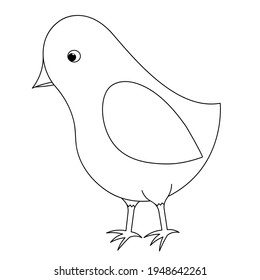 Bird. Cute chick. Sketch. Vector illustration. Coloring book for children. Little songbird. Outline on white isolated background. Doodle style. Festive print. Idea for web design, invitations.