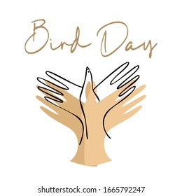 Bird Day Vector Illustration. two hands are folded in the shape of a bird. Outline