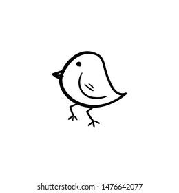 bird doodle logo icon vector hand drawing