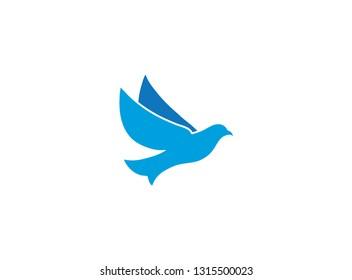 Bird eagle open wings flying for logo design