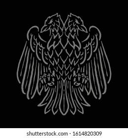 Bird Emblem with Two Head Graphic Illustration Vector Art T-shirt Design