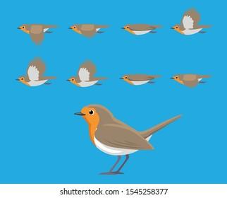 Bird European Robin Flying Cartoon Vector Animation Frame
