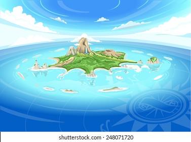Bird Eye Sky View Neverland Adventure Caribbean Vector Pirate Cove Island. Treasure Pirate cove caribbean sea coral Neverland Coral Island fisheye bird eye sky view Adventure Cove vector illustration