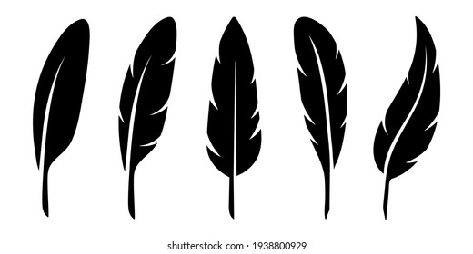 Bird Feather black silhouettes. Plumelet collection. Vector isolated on white