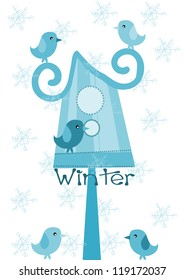 Bird feeder and sparrows - winter time.