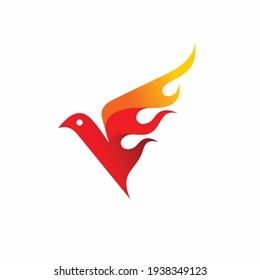 Bird with fire vector, Bird fire logo