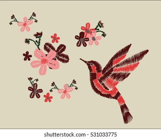 bird and flowers embroidery