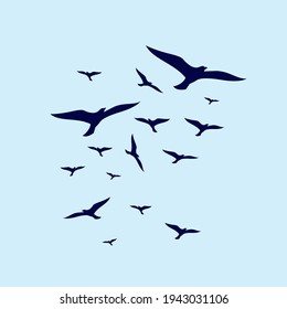 bird fly in formation simple design