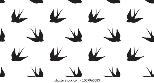 bird fly Seamless Pattern Swallow pigeon vector isolated wallpaper background