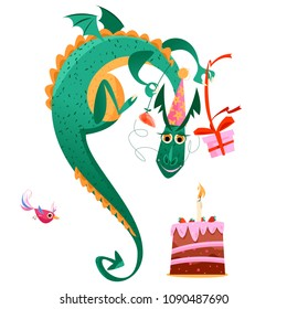 Bird and flying dragon with gift, flower and a birthday cake. Happy birthday! Vector illustration