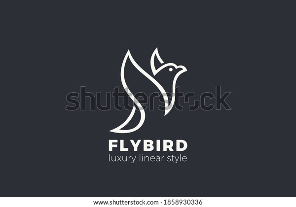 Bird Flying Wings Logo Abstract design vector template Elegant style. Luxury Fashion Cosmetics Logotype Dove concept icon.