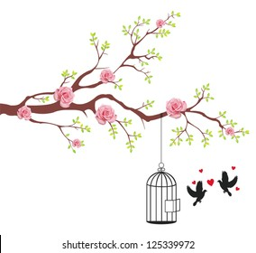 Bird is freeing from the cage to it's couple lover in rose flower tree branch. This is a love and romantic conceptional abstract picture.