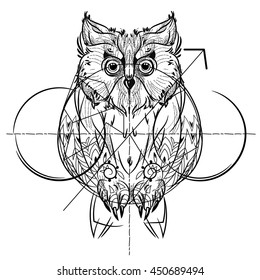 Bird front view , geometric trendy line design. Vector illustration ready for tattoo or coloring book. Wild eagle owl low-poly sketch hand drawn