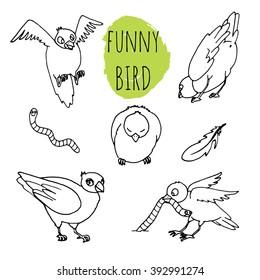 Bird funny hand drawn line illustration
