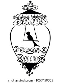 Bird In Gilded Cage - Retro Clip Art Illustration