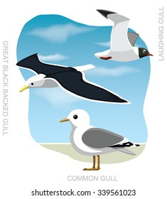 Bird Gull Set Cartoon Vector Illustration