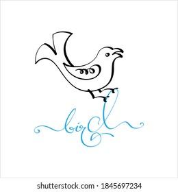 Bird Hand Drawn Pen Ink Style, Bird Word Handwritten Vector Art Illustration