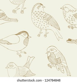 bird hand drawn seamless pattern