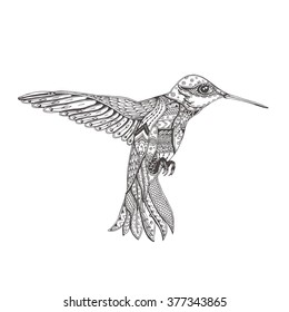 Bird. Hand-drawn humming-bird with ethnic doodle pattern. Coloring page - zendala, for  relaxation and meditation for adults, vector illustration, isolated on a white background. Zendoodle.