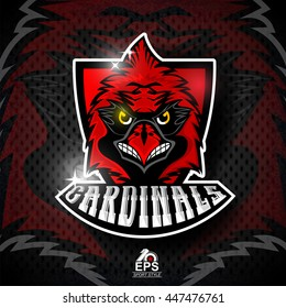 Bird head on red shield. Logo for any sport team cardinals