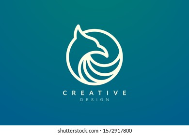 Bird head shape design with golden ratio technique. Modern minimalist and elegant vector illustration. Can be used for labels, brands, icons or logos