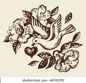 Bird with heart and flowers. Hand-drawn illustration
