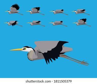 Bird Heron Flying Cartoon Vector Animation Frame