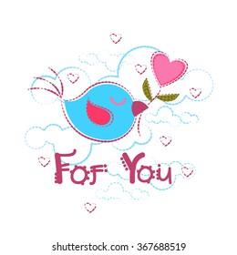 Bird Holding Heart Shape Greeting Card Valentine Day Vector Illustration