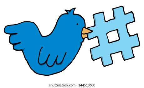 Bird holding a twitter tag topic